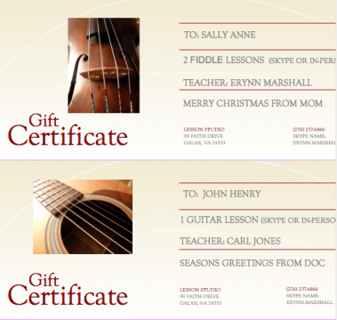 Gift Certificate   for facebook